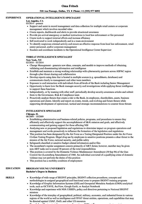 intelligence specialist sle resume recreational