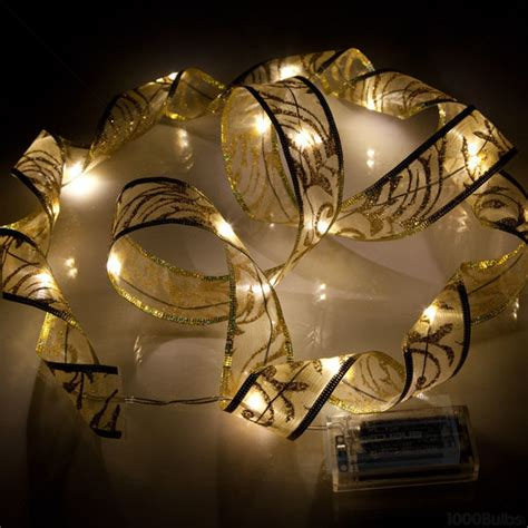 gold christmas ribbon led lights