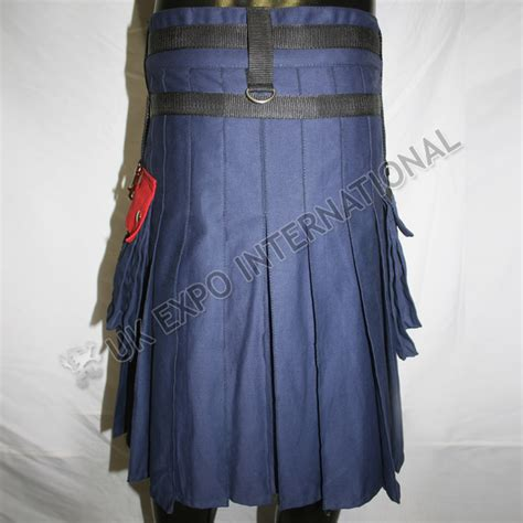 Grey Half Helmet Intl blue and black cargo pocket kilts with front chain