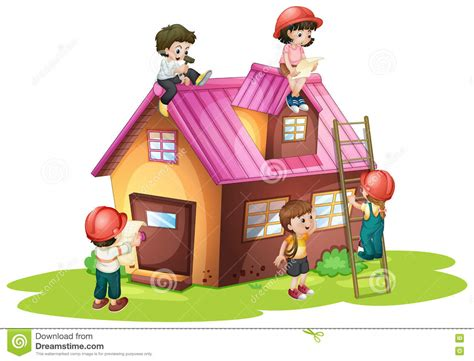 children fixing and building house stock vector image