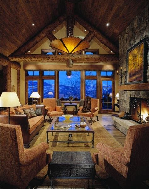 cabin living rooms mountains cabin living room dream mountain home pinterest