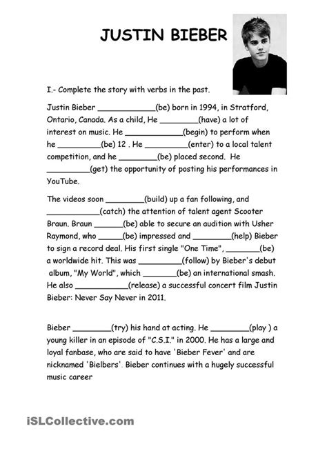 Justin Bieber Biography Conclusion | 33 best images about esl exercise on pinterest student