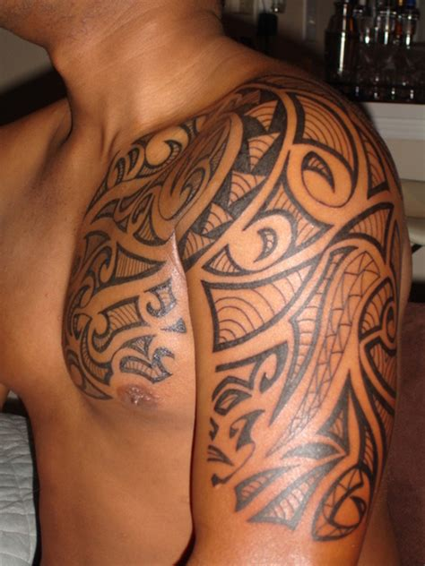 tribal tattoo on chest and shoulder tattoos for on chest to shoulder