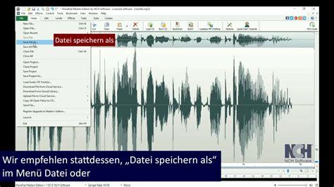 tutorial wavepad wavepad tutorial audio speichern und konvertieren youtube