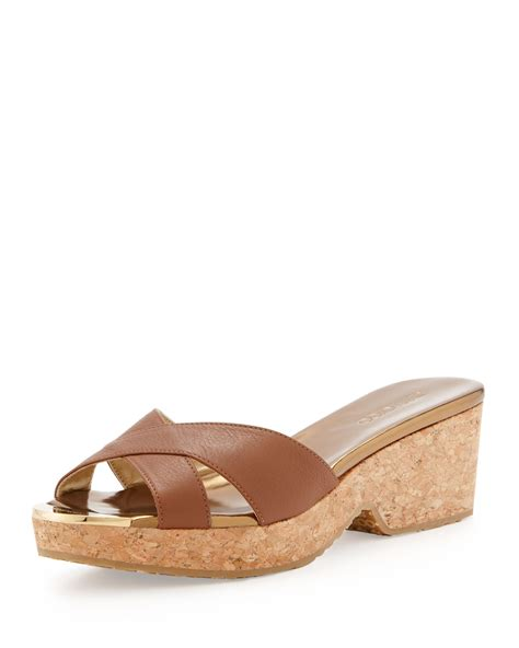 brown slide sandals jimmy choo panna leather crisscross slide sandal brown in