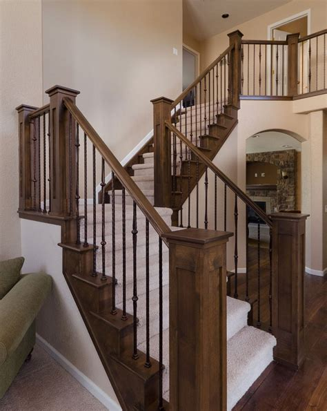wooden banisters for stairs stair railing and posts new house pinterest