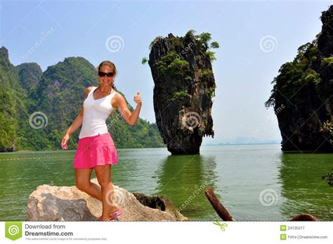 film james bond island woman at james bond island royalty free stock photography