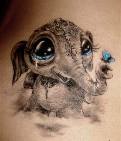 asian elephant tattoo designs asian baby elephant with flying butterfly