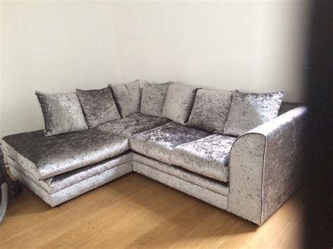 Silver Corner Sofa by Pearlesant Silver Crushed Velvet Corner Sofa In Helsby