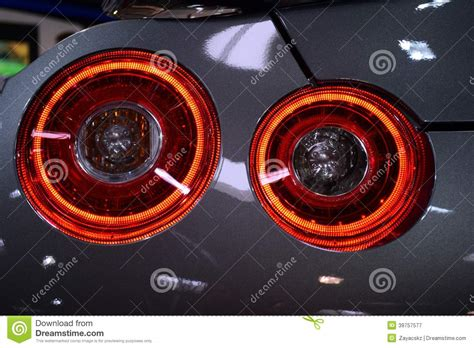 round led lights photography round rear light of japanese sport car silver chassis