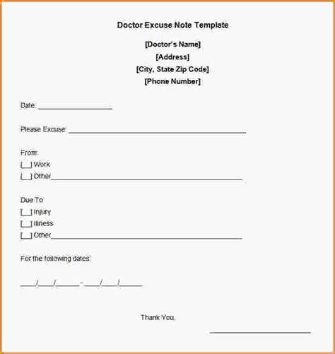 Free Doctor Note Template For Work free printable doctors excuse for work free doctor excuse