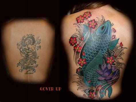 koi fish lotus flower awesome cover up tattoo art