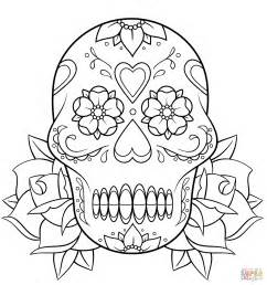 simple sugar skull coloring pages kids coloring