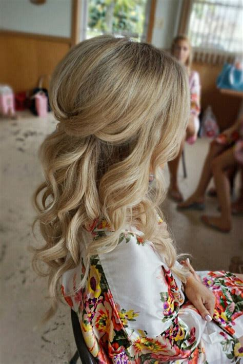 curl hairstyles partial updo wedding