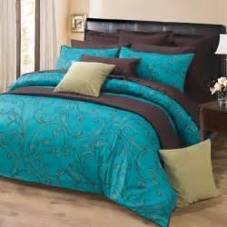 Turquoise dark brown paisley design 300tc cotton duvet cover set queen