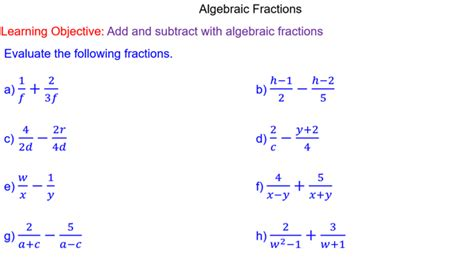 algebraic subtraction worksheets adding and subtracting algebraic fractions