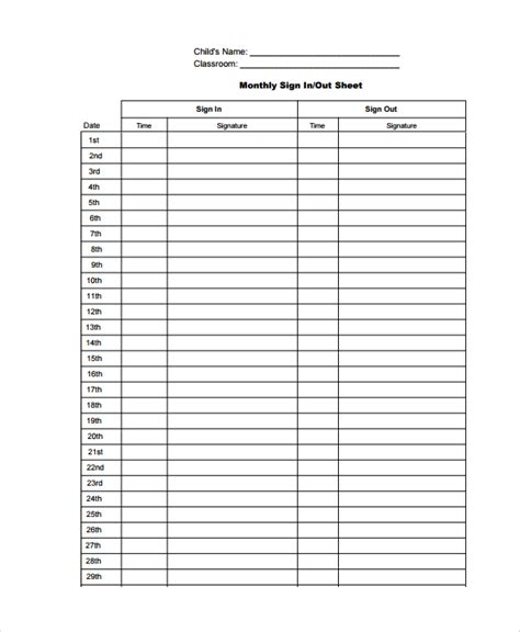 sle classroom sign out sheet 8 free documents