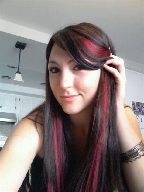 streaked hair color dark brown hair with pink streaks hair pinterest a