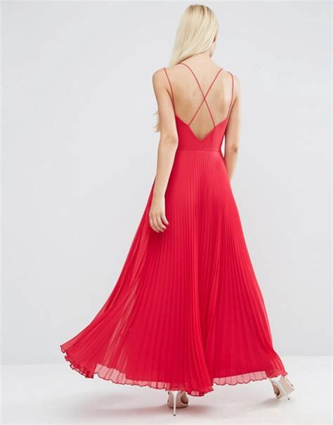 asos asos strappy maxi dress with pleated skirt