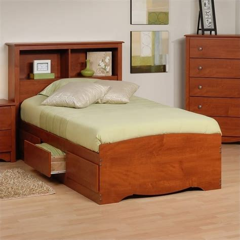 prepac monterey twin platform storage w headboard cherry bed