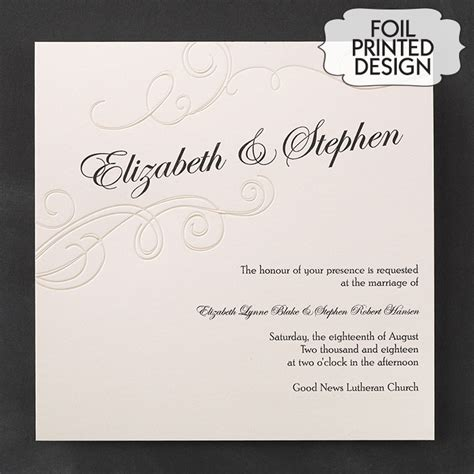 wedding invites australia embossed pearl swirls wedding invitations flamingo