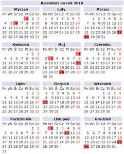 Kalendarz Ze świętami Na 2018 Rok Kalendarz 2016
