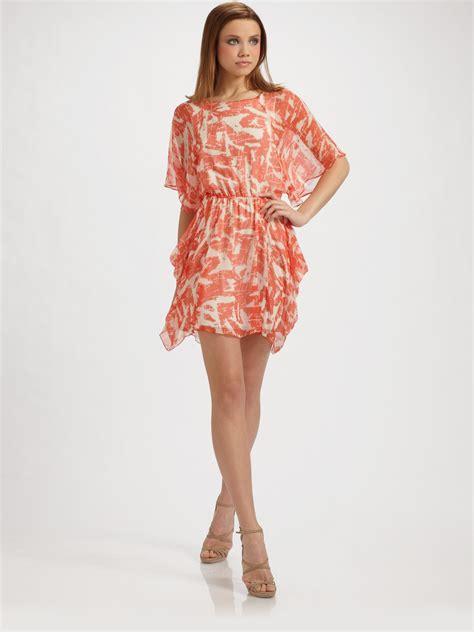 silk drape dress alice olivia frida silk blouson drape dress in orange