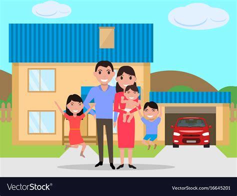 cartoon happy family bought   house royalty  vector
