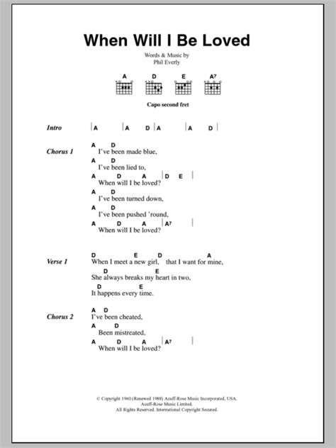 your side of the bed chords when will i be loved by everly brothers guitar chords