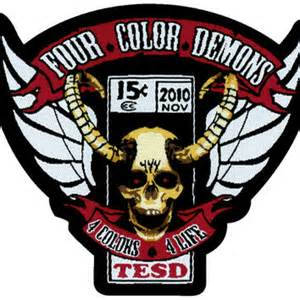 four color demons pre order tesd demons woven patch from merchtable