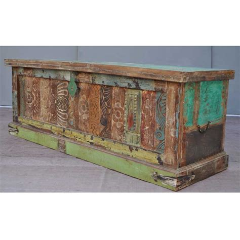 Distressed Trunk Coffee Table Antique Carved Rustic Distressed Coffee Table Storage Box Trunk New Ebay