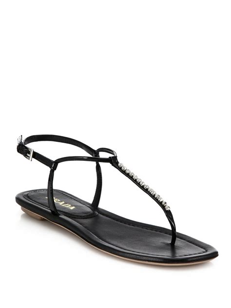 Prada Swarovski 1 lyst prada swarovski flat leather sandals in black