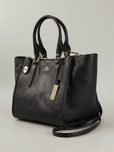 Coach Tote Black Leather Shoulder Bag coach crosby leather shoulder bag in black lyst