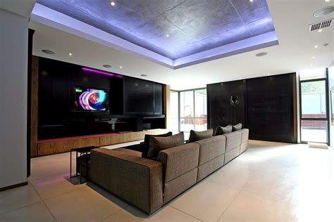 luxury  large contemporary house tv room  great