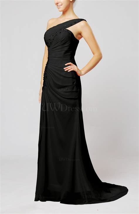 draped evening dresses black elegant column zipper chiffon sweep train draped