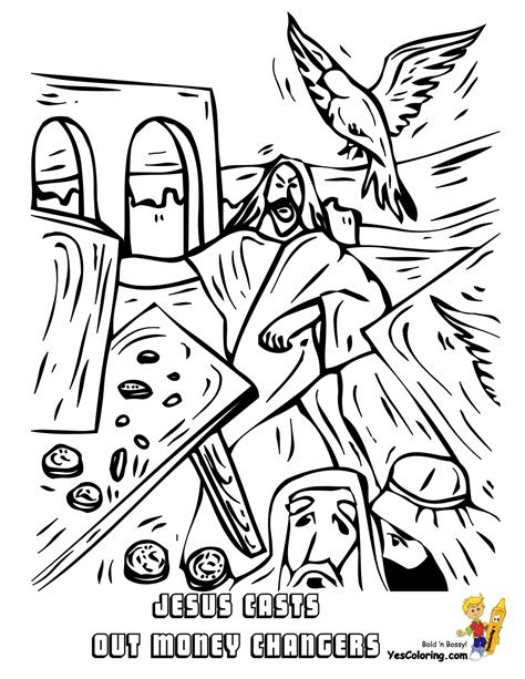 coloring page jesus and the money changers rock of ages bible coloring pages all free coloring