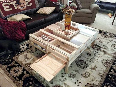 Diy Glass Top Coffee Table Diy Pallet Coffee Table With Glass Top And Lights 101 Pallets