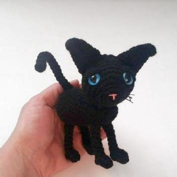 cute black cat  amigurumi pattern