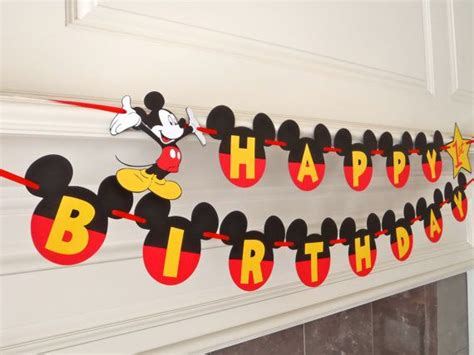 Mickey Mouse Flag Banner Ulang Tahun Happy Birthday Bunting mickey mouse happy birthday banner with yellow letters age and mickey cutout by