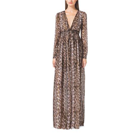 Maxi Dress Leopard lyst michael kors leopard print maxi dress in brown