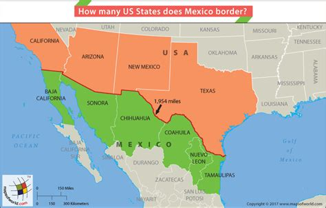 usa and mexico map how many us states does mexico border answers