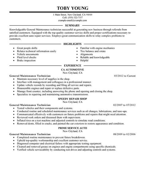 best general maintenance technician resume exle
