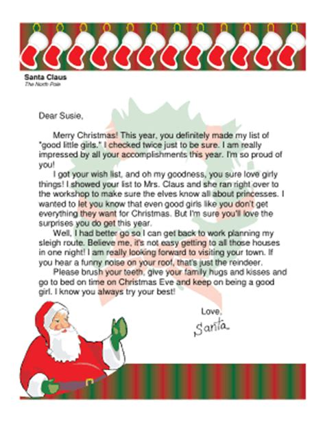 free editable printable letter from santa letter from santa to a girl