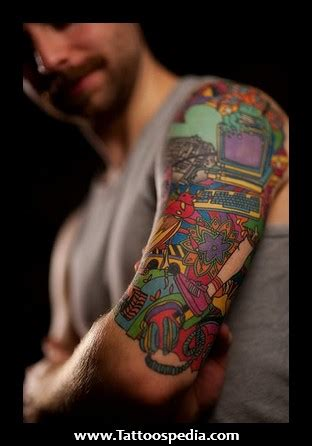colored tattoos for men colored sleeve tattoos for