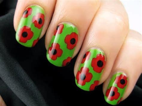 easy nail art poppy design one stroke remembrance day poppy nails youtube