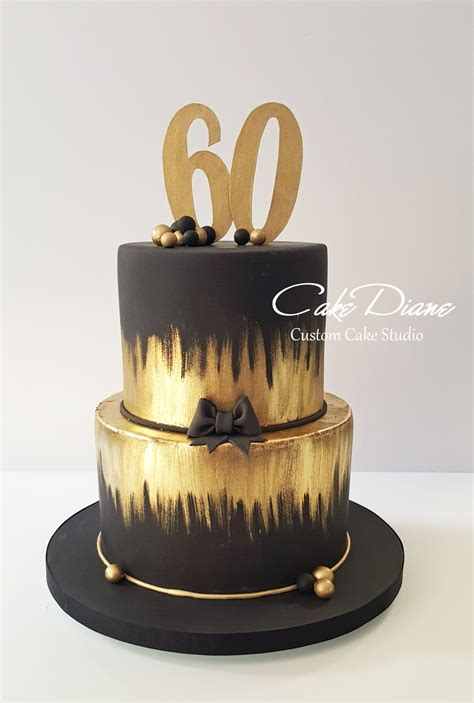 black pattern cake black and gold cake for a man s 60th birthday adult