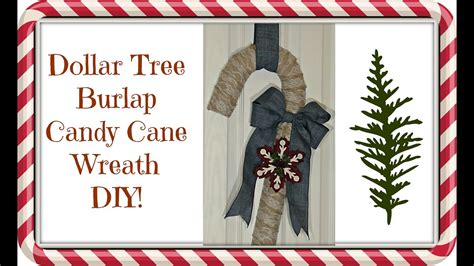 dollar tree 4 burlap candy cane wreath diy christmas