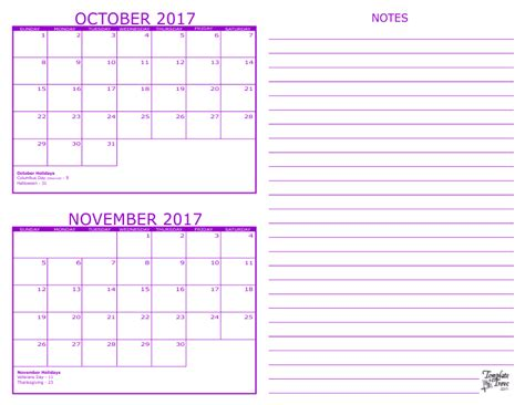 Calendar 2017 October November 2 Month Calendar 2017