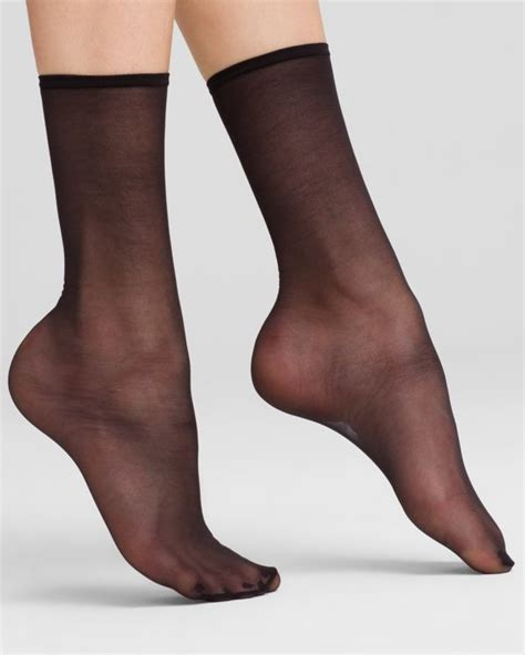 Sheer Socks hue sheer anklet socks in multicolor black lyst