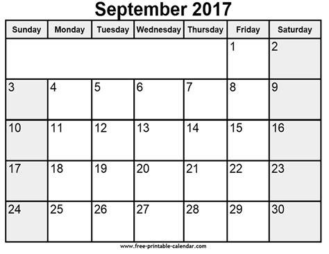 Calendar 2017 September Printable Pdf Printable September 2017 Calendar
